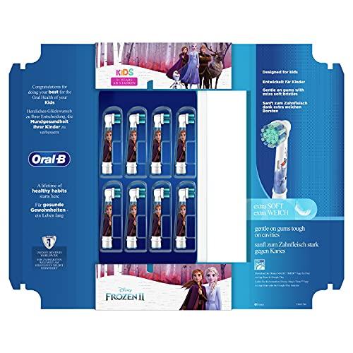 Oral-B Kids Aufsteckbürsten für elektrische Zahnbürste, 8 Stück, für Kinder ab 3 Jahren, extra weiche Borsten, Frozen, briefkastenfähige Verpackung