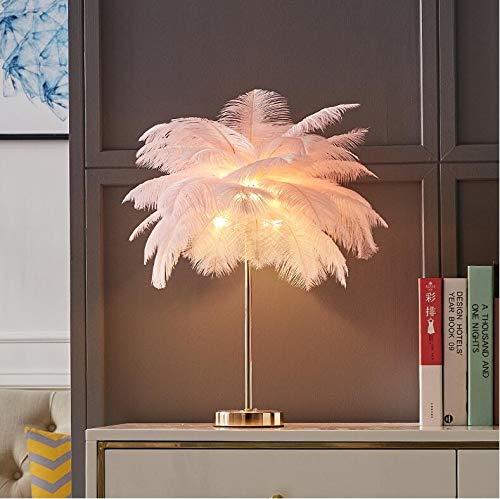 HMKJ Lámpara de Mesa de Tambor de Plumas Creativas Vintage Elegante Escritorio Noche luz Cristal lampara de Cama de Noche de Noche luz de Lectura de la Cama de la Cama Iluminación Decorativa