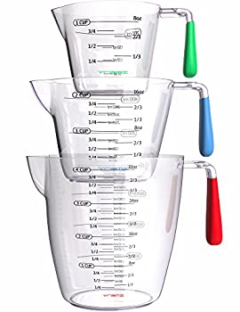 Vremi 3 Piece Plastic Measuring Cups Set - BPA Free Liquid Nesting Stackable Measuring Cups with Spout and Decorative Red Blue and Green Handles - includes 1 2 and 4 Cup with Ml and Oz Measurement