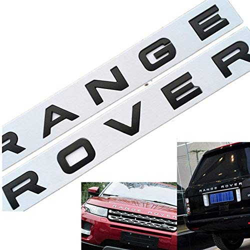 YELVQI 3D Head Cover Hood Front Letters Emblem Sports Line Insignia Emblema de Letras para Range Rover Land Rover Calcomanías para automóviles Logotipo de calcomanías, Plateado Mate
