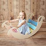Bogenwippe aus Holz - handgefertigter Kletterbogen für Babys und Kinder, Pikler, Wippe Regenbogen