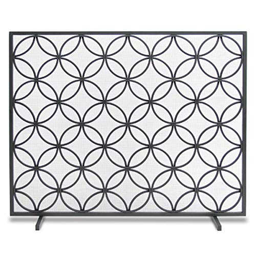 """Pilgrim Home and Hearth, Matte Black 18310 Beford Single Panel Fireplace Screen, 39""""W x 31""""H 21 Lbs"""