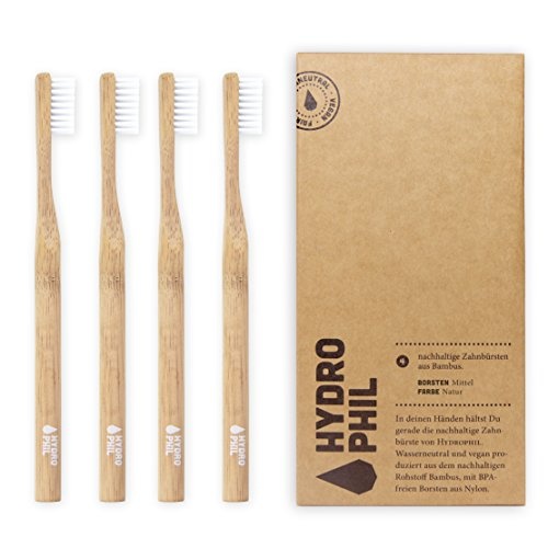 HYDROPHIL Ekologiczna szczoteczka do zębów z naturalnego bambusa, 4 sztuki, średnio miękka