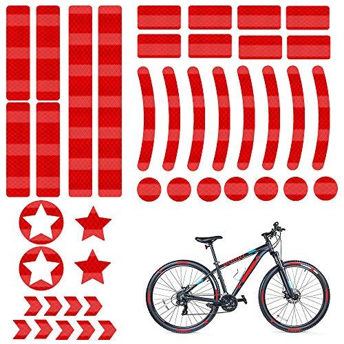 Reflectores Adhesivos, 42 Piezas Pegatinas Reflectantes, Reflectante Adhesiva Kit, Adhesivos Reflectantes Rojo, Pegatina Reflectante Bicicleta, para Casco, Cochecito, Moto, Bici