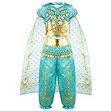 vamei Disfraz Niña Jasmine Vestido Traje Princesa Jasmine para Halloween Traje Cosplay Actuación Carnaval Navidad Regalo Cumpleaños Danza Vientre Vestido de Princesa 3-10Años (5-6 Años)