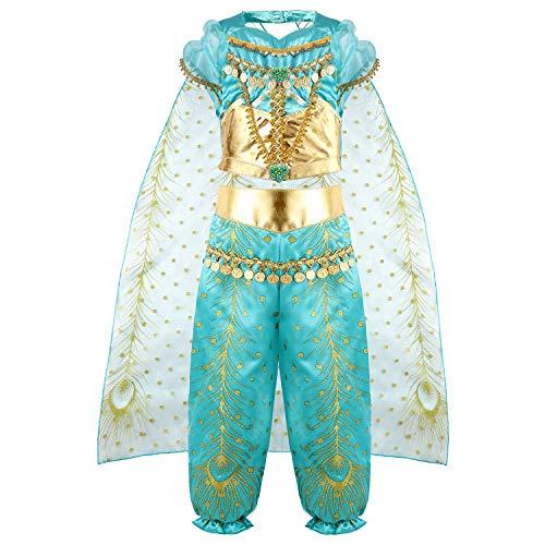 vamei Kostüm Mädchen Jasmin Kostüm Kinder Prinzessin Kostüm Halloween Cosplay Kostüm Set Mädchen Party Jasmine Outfit für 3-8 Jahre alt (5-6 Jahre alt)
