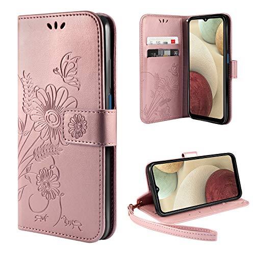 ivencase Cover Compatibile con Samsung Galaxy A12 / M12, Book Cover Custodia Flip Caso in PU Pelle Portafoglio Magnetica Porta Carta Kickstand Cover - Oro Rosa