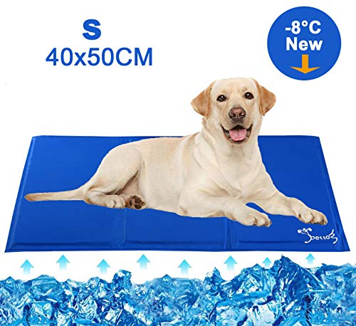 PETTOM Dog Cooling Mat Small Pet Cool Pad Durable Self Cooling Bed Non-toxic Gel Heat Relief Cushions Sleeping Mattress Cooler for Dog Crates Kennels in Hot Summer (S- 40 * 50)