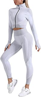 QCHENG Women's Workout Sets 2 Piece Front Zip Long Sleeve Crop Top and Seamless Leggings Set Gym Clothes Yoga Outfits