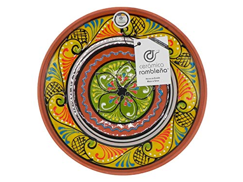 Ceramica Ramblena | Piatto decorativo da appendere a parete | Piatto in ceramica | Piatto decorazione mediterranea giallo-bianco-verde | 100% fatto a mano | 35 x 35 x 6 cm