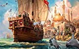 Hunnry Rompecabezas 1000 Piezas Rompecabezas para Adultos Rompecabezas de tamaño Micro Decoración del hogar Pintura-Anno 1404 Pintura de velero
