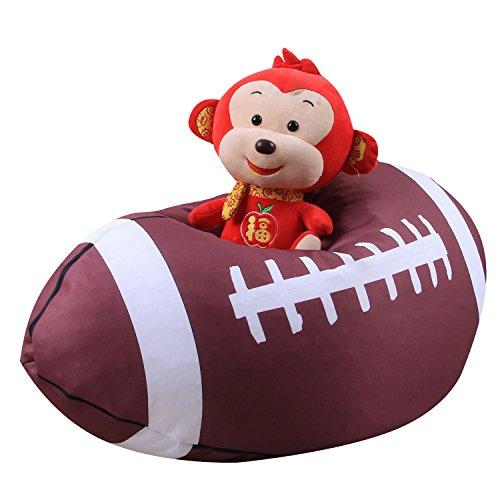 ele ELEOPTION Kindersitzsack Kinder Sessel Stofftier Aufbewahrungtasche Großes Fassungsvermögen 26'' Spielzeugaufbewahrung für Kinder Stofftier Plüschtiere Decke (American Football Design)