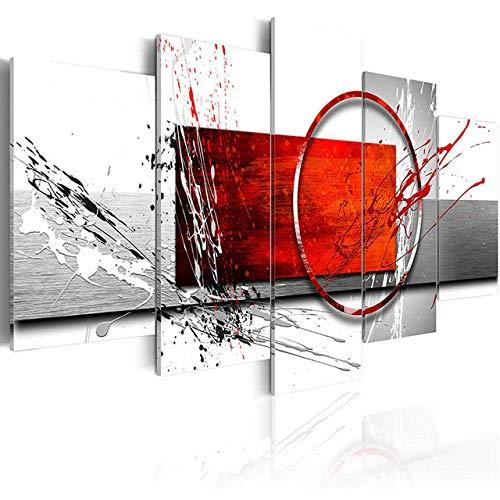 WLKJ Impresiones en Lienzo Lienzo Modular decoración del hogar 5 Piezas Metal Rojo rectángulo de Madera Negro Gris Fondo Pintura Pared Arte impresión Cartel