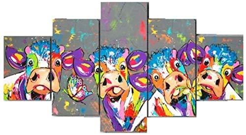 MSKJFD 5 Piezas Material Tejido No Tejido Impresión Artística Imagen Gráfica Decor Pared Mural Moderno Decor Hogareña Regalo Navidad Vacas del Artista del Color
