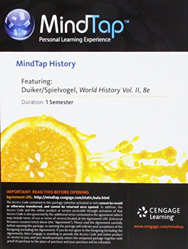 MindTap History, 1 term (6 months) Printed Access Card for Duiker/William/Spielvogel/Jackson's World History, Volume II: