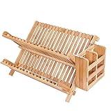 Escurreplatos de madera maciza de bambú para cocina