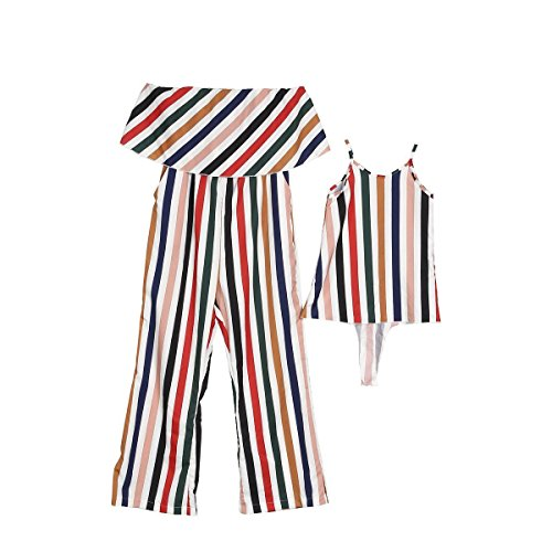 Price comparison product image Family Matching Dresses Mother Daughter Sleeveless Stripe Dress Women Girls Clothes 1-6T