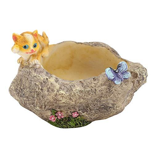Soporte para plantas de resina, maceta suculenta de animales de dibujos animados, maceta pequeña, maceta mini suculenta, maceta para plantas de cactus,(Kitten frolic)