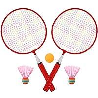 LIOOBO バドミントン ラケット セット 子供用 ミニサイズラケット ゲームおもちゃ レジャー ファミリースポーツ アウトドアスポーツ 教育スポーツゲーム 初心者 レッド