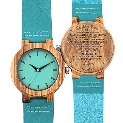 RWJFH Reloj de Madera Moda Azul Reloj para Hombre Relojes de Madera de Cuero de Cuarzo Minimalismo Dial Reloj de Hombre Personalizado Grabado Artículo de Regalo de cumpleaños, Solo Reloj para mi hij