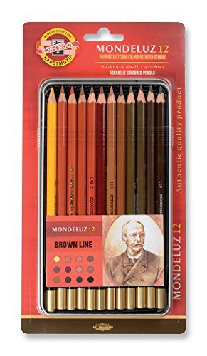 Koh-I-Noor Mondeluz Brown Line Ligne brune Crayons de Couleur Aquarelle (Set de 12)