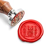 Mceal Wax Seal Stamp, Silver Brass Head with Wooden Handle, Regal Letter H