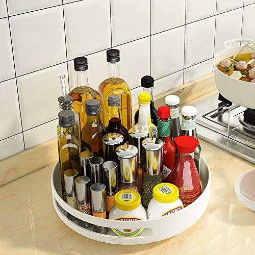 LDJ Plato Giratorio para La Cocina, Organizador De Armarios para Especias, Condimentos, Ingredientes De Hornear O Conservas, Cosméticos Cesta Organizadora para Baño