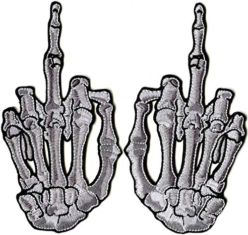 Middle Finger Embroidered Patches | 3D Skeleton Hand Patch | Iron On | Small - by Nixon Thread Co.