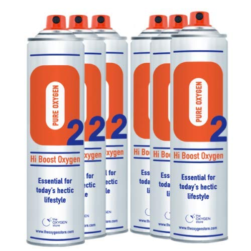 6 x 10L Pure Canned Portable Oxygen in A Can Canister 99.5% Pure Sports Therapy