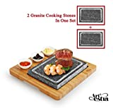 Artestia Double Cooking Stones in One Sizzling Hot Stone Set, Deluxe Tabletop...