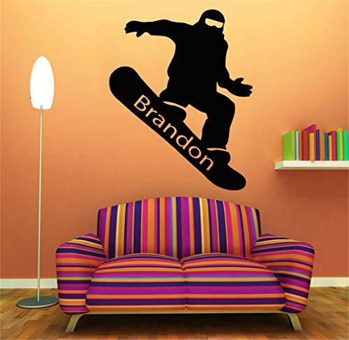wandaufkleber 3d Wandtattoo Wohnzimmer Raum Snowboarding personalisierte Namen Aufkleber Boy Room Decor