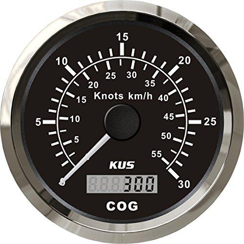 KUS GPS Tacho Kilometerzähler 30Knots 55KM/H Für Boot Yachten 85mm Mit Hintergrundbeleuchtung (Schwarz)