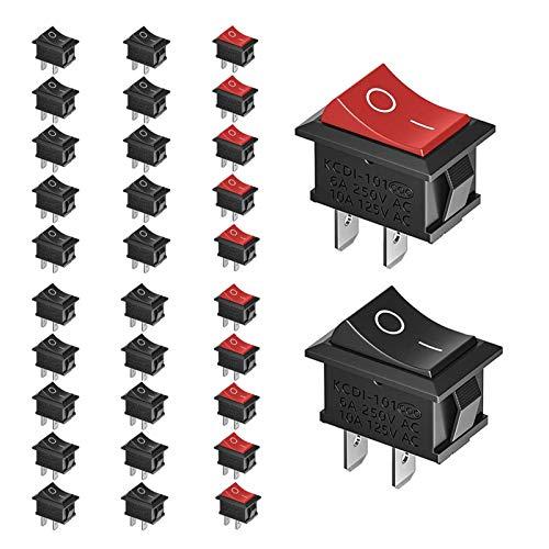 30stk Kippschalter 230V Ein-AUS Schalter - Druckschalter 2-polig, 20x Schwarz+10x Rot Wippschalter, AC 10A 125V | 6A 250V für Arduino DIY