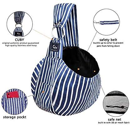 CUBY Pet Sling Carrier for Small Dogs, Cats, Puppies, Sling Backpack, Single-Shoulder Pet Bag for Travel, Adjustable Shoulder Straps 2