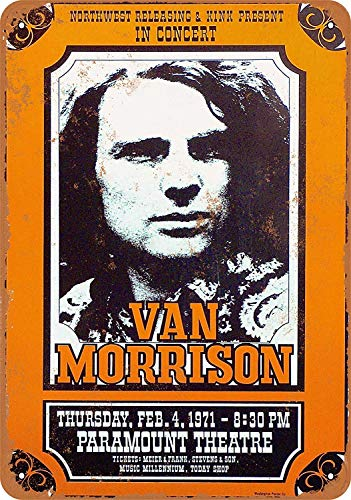 Treasun 1971 Van Morrison in Portland Oregon 12 X 8 Inches Retro Metal Tin Sign - Vintage Art Poster Plaque