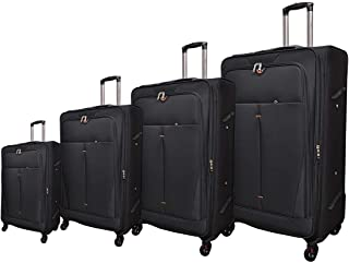 Track Luggage Trolley Bags 4 Pcs Set, Black