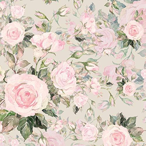Schickliesel French Terry Stoff Meterware Romantische Rosen (Hellbeige)