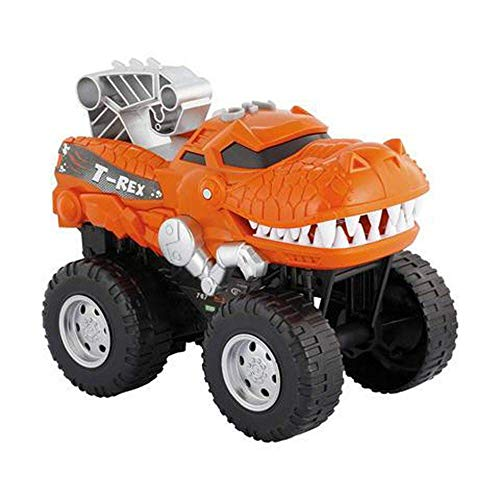 Powerful Dinosaur Monster Truck with Chomping, Roaring T-Rex - Battery Powered Dinosaur Car Lights Up with Revving Engine Sounds and Pops Wheelies - Great Dinosaur Toys for Boys and Girls Ages 3+