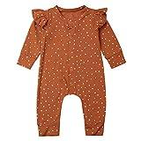 Geagodelia Baby Mädchen Jungen Strampler Spieler Babykleidung Schlafstrampler Neugeborene Kleinkinder Weiche Kleidung Outfit Babystrampler T-34929 (0-3 Monate, Braun Polka Dot)