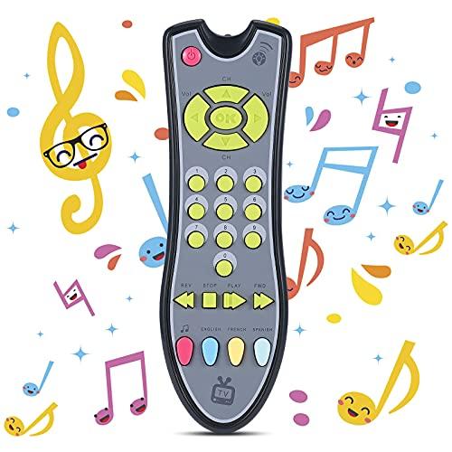 Uokoki Juguetes para bebés Música TV Control Remoto Juguetes educativos tempranos Niños Controlador eléctrico Máquina de Aprendizaje Regalo de Juguete (Gris)