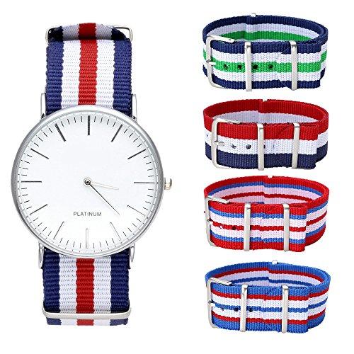 JSDDE Geneva Orologio da polso, da uomo / donna, cinturino in tessuto di nylon, con passante, orologio analogico, al quarzo + 4 cinturini di ricambio in nylon, di alta qualità.