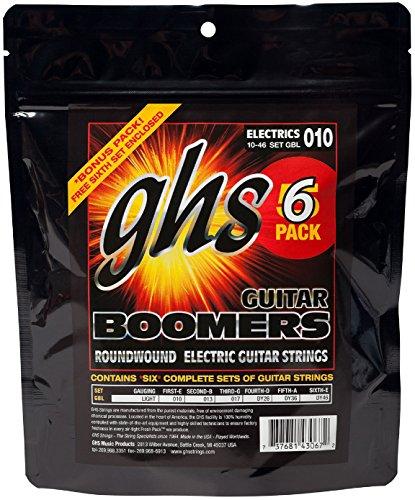 GHS Boomers - Corde da chitarra, misura: light / 10-46, confezione da 6
