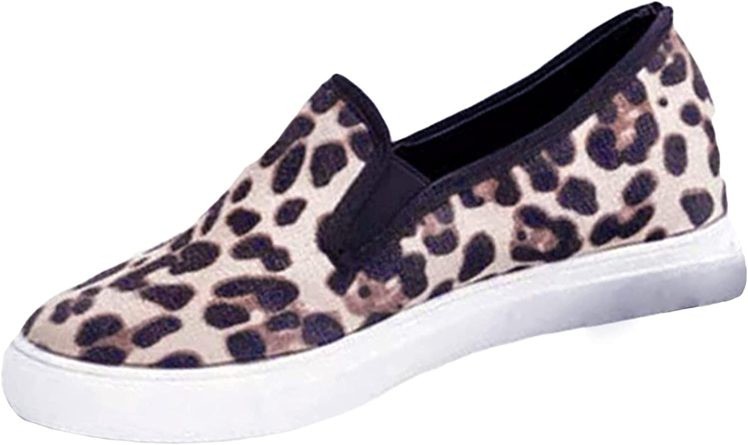 New Womens Sexy Shoes Retro Sports Canvas Shoes Couple Shoes Slip-On Comfortable No-Slip Outdoor Walking Shoes Flat Bottom Leopard Women'S Single Shoes