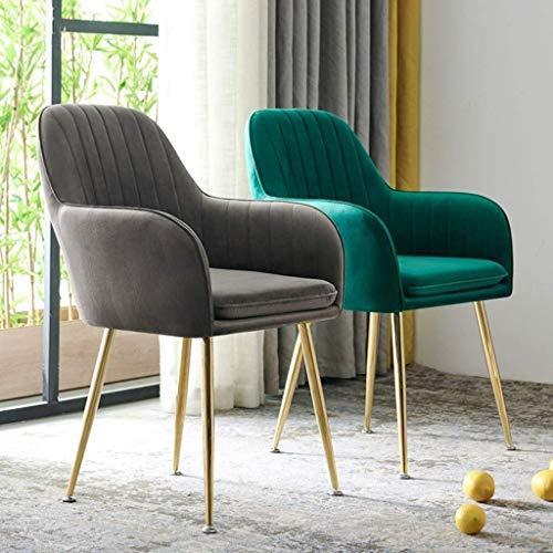 N/Z Living Equipment 2pcs Armlehnen Stühle Set Samt Sitz Paed Seat Goldenes Metallbein Retro Esszimmerstühle für Counter Lounge Freizeit Küchenstühle mit Rückenlehne (Farbe: Dunkelgrau)