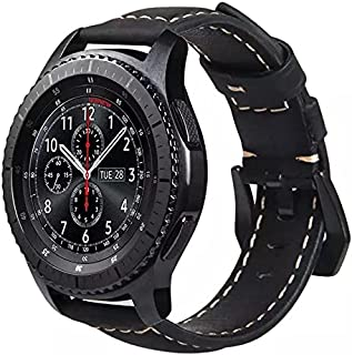 Handmade Leather Band with Black Stainless Steel Buckle for Samsung Gear S3 / Galaxy Watch 46mm / Huawei GT2 / Fossil - 22...