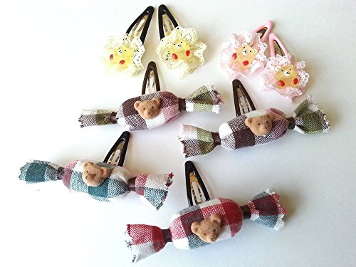 4 set of bear hair clips, gummy bear, teddy bear hair pins