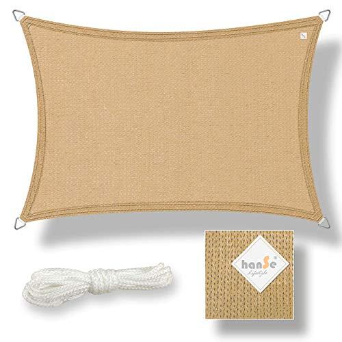 hanSe® Marken Sonnensegel Sonnenschutz Wetterschutz Wetterbeständig HDPE Gewebe UV-Schutz Rechteck 3x5 m Sand
