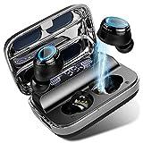 Écouteurs Bluetooth sans Fil Stéréo Oreillettes 5.0 IPX7, 125 Heures d'Autonomie avec Étui de Chargement,Contrôle Tactile, Appariement Automatique,Fonctionne sur iPhone, Android et PC