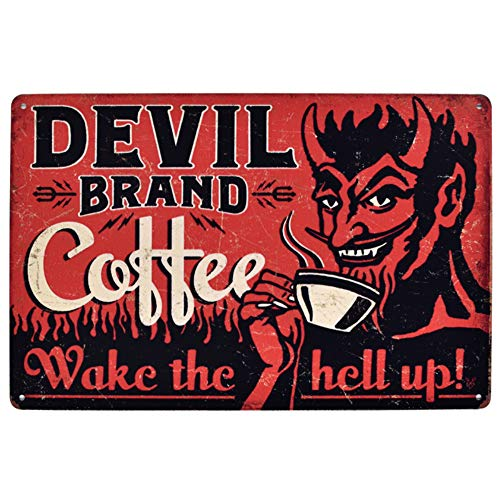 EffortLife Devil Brand Coffee Wake The Hell Up Retro Wall Decor Vintage Bar Signs Tin Sign 12 X 8 Inch