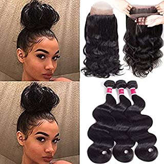 Funky girl Hair Lace Frontal Closure With Bundles Brazilian Body Wave Bundles With Frontal 360 Natural Black Unprocessed Human Hair Bundles With Frontal (16 18 20 With 14)